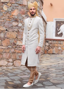 Pearl Work Silk Fabric Cream Sherwani