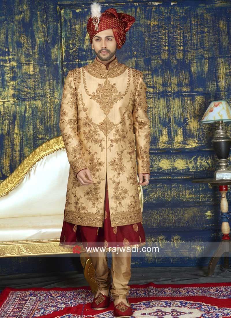 Pearl Work Silk Fabric Golden Sherwani