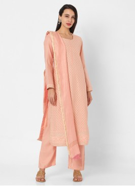 Chanderi Fabric Peach Color Palazzo Style Suit