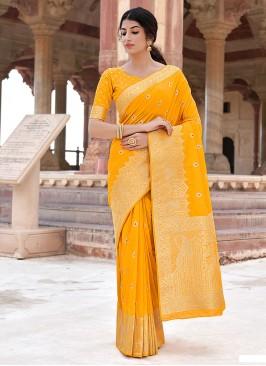 Perfect Weaving Mustard Traditional Designer Saree