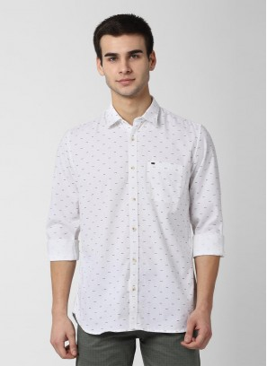 Peter England White Full Sleeves Casual Shirt
