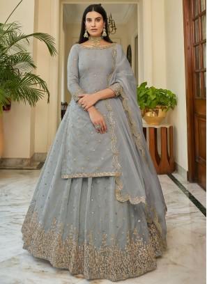 Phenomenal Organza Embroidered Grey Bollywood Lehenga Choli
