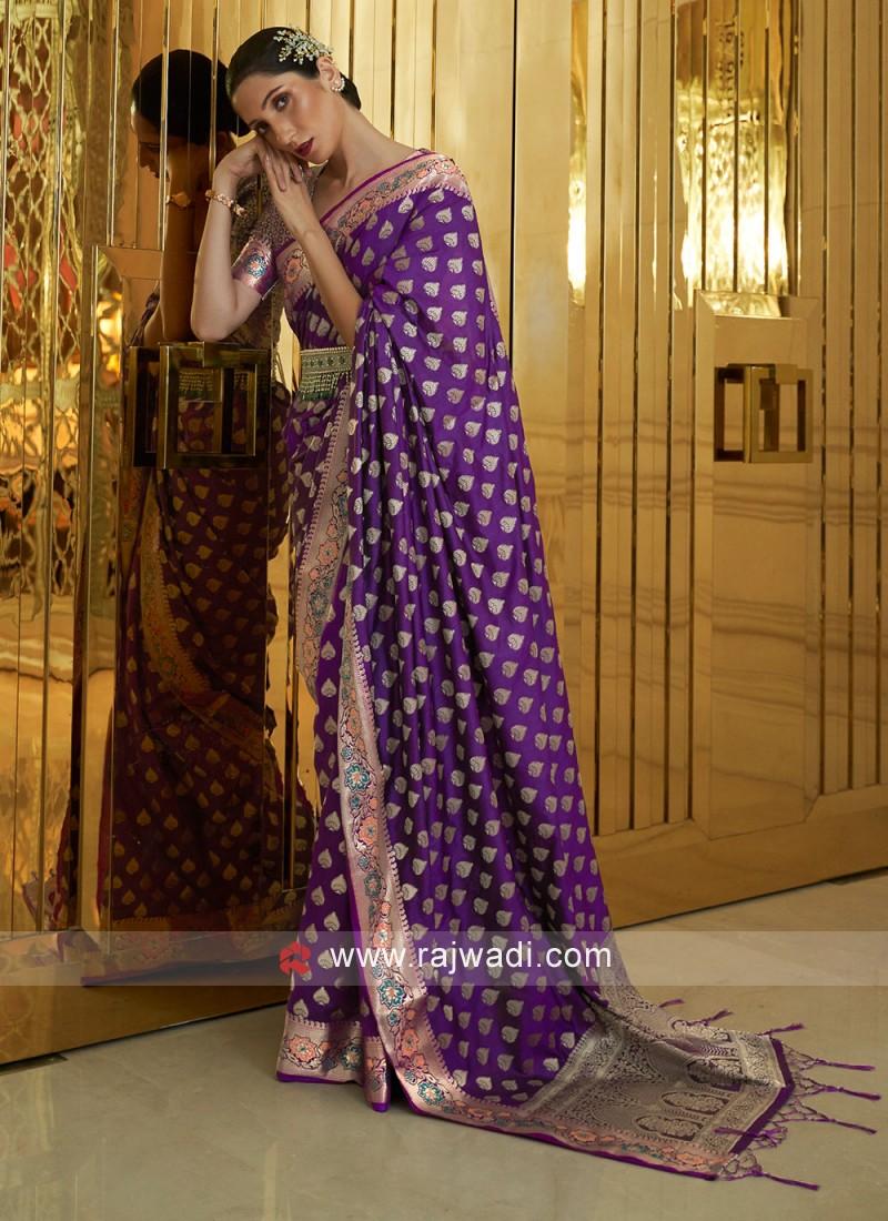 Picturesque Silk Purple Shaded Saree