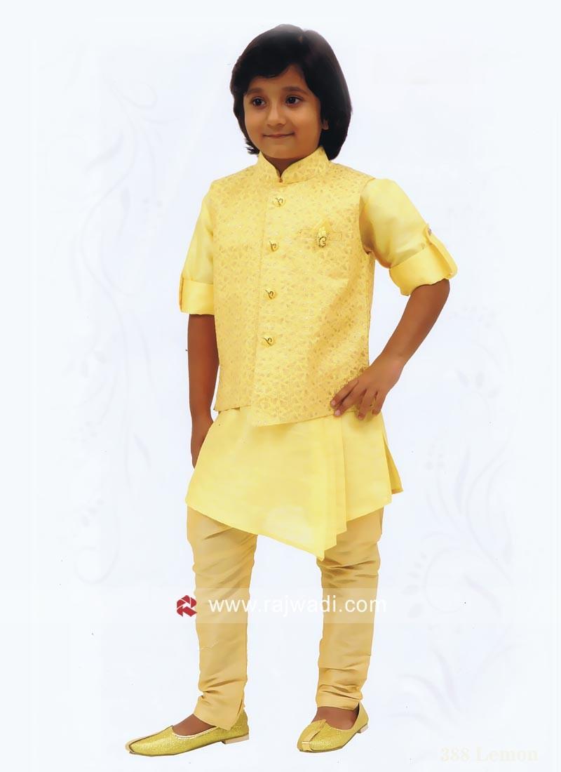 Pineapple Yellow Art Silk Nehru Jacket