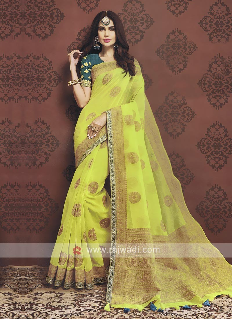 Pineapple Yellow Color Cotton Silk Saree