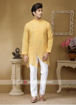 Pineapple Yellow Party Wear Kurta Set