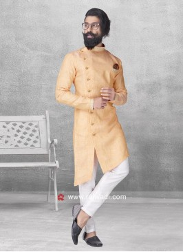 Stylish Peach Pathani Suit