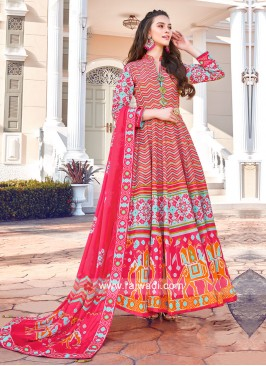 Rani Colour Anarkali Suit with Dupatta
