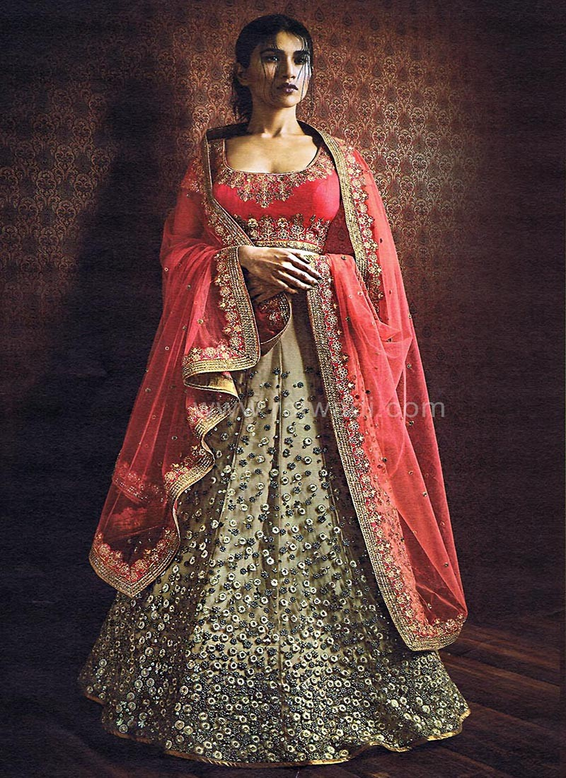 Pink and Beige coloured Lehenga Saree
