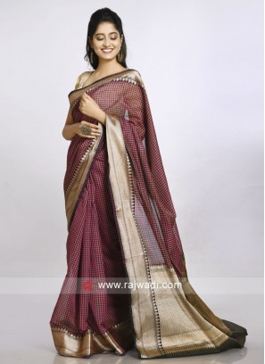 pink and black checks saree