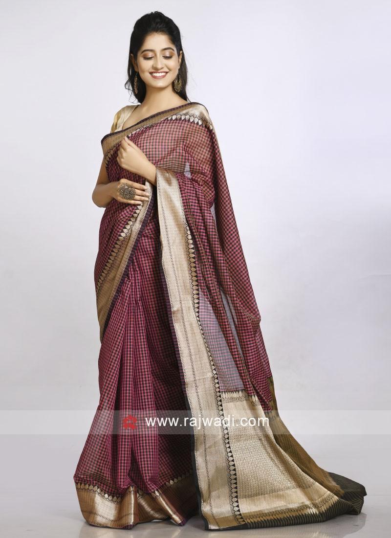 pink and black checks saree
