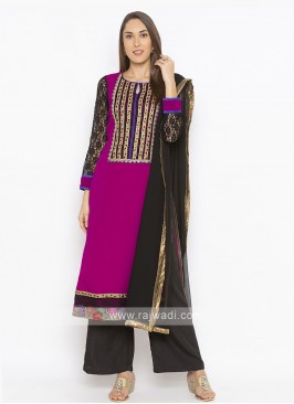 Pink And Black Colour Salwar Suit