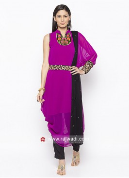 Pink and Black Georgette Salwar Suit