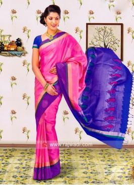 Pink and Blue Silk Saree