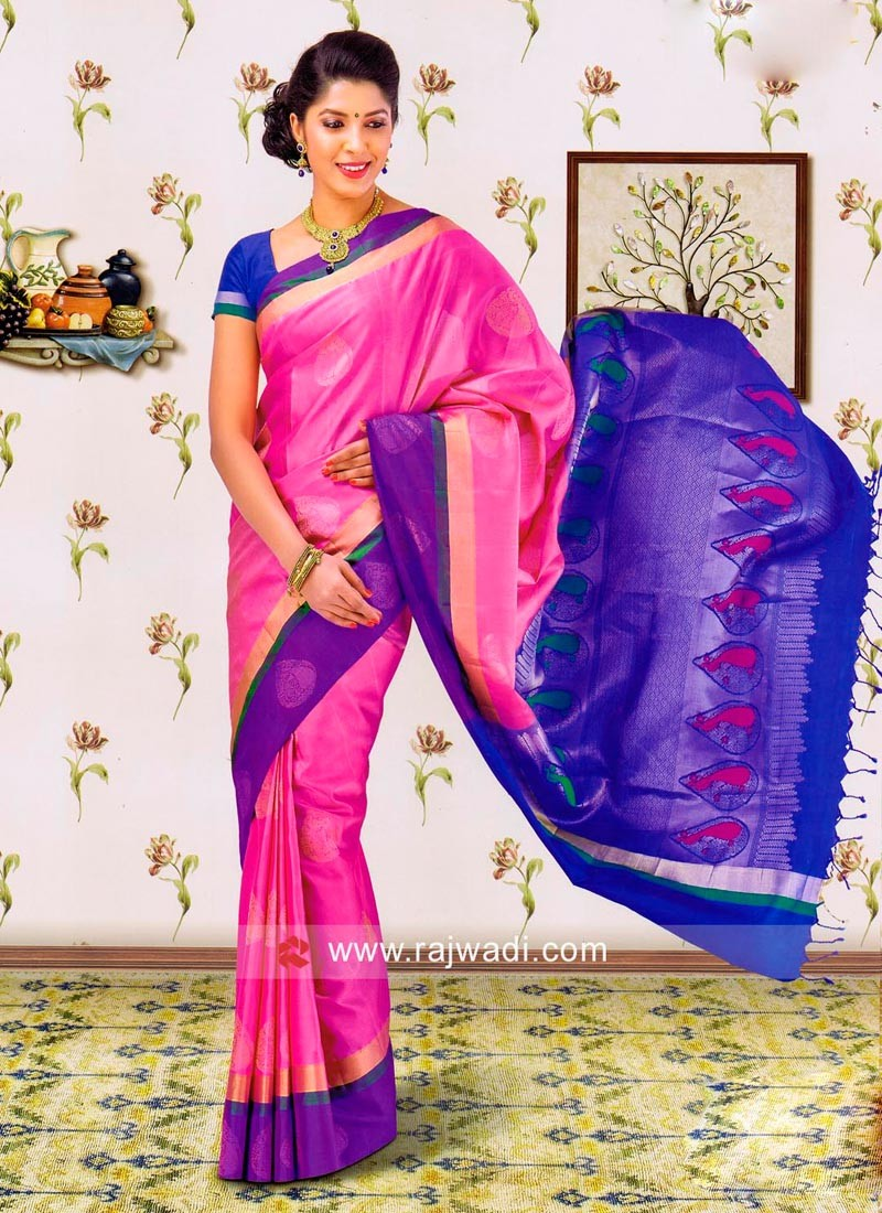 Pink and Blue Silk Saree