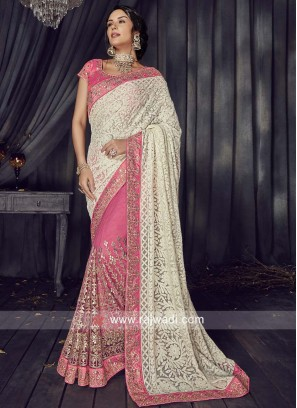 Pink and Cream Half n Half Saree