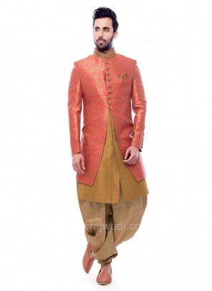 Pink And Golden Color Indo Western