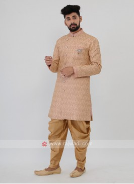 Pink And Golden Mens Indo-Western
