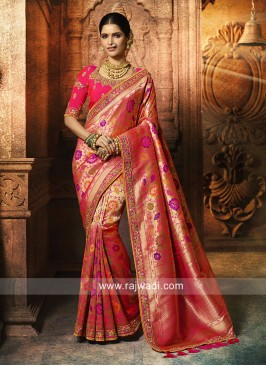 Pink and Golden Shaded Saree