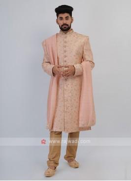 Pink And Golden Sherwani