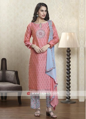 Pink and grey salwar suit with dupatta