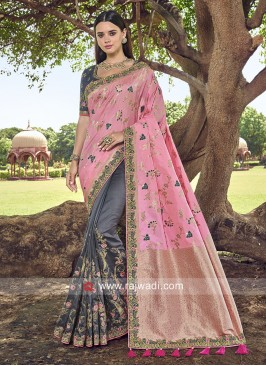 Pink and Grey Designer Half n Half Saree