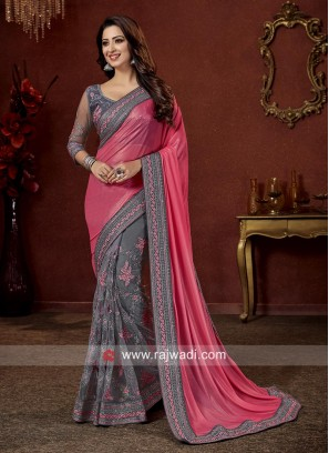 Pink and Grey Half n Half Embroidered Saree