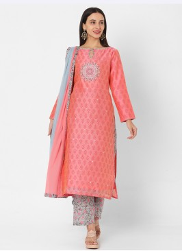Pink And Light Blue Palazzo Suit