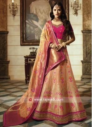 Pink and Light Orange Unstitched Lehenga