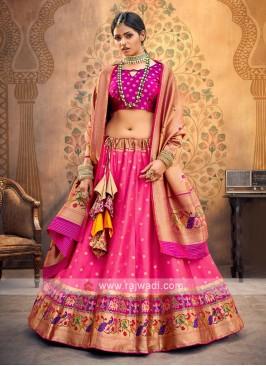 Pink And Magenta Color Silk Lehenga choli