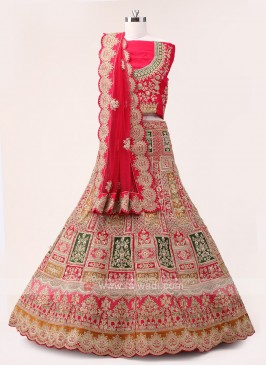 Pink And Multi Color Lehenga Choli