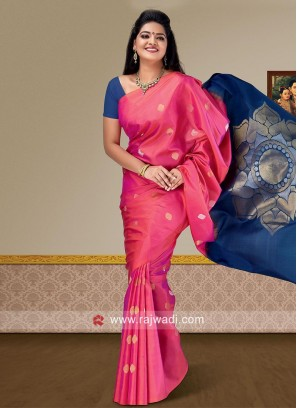 Pink and Navy Blue Pure Silk Saree