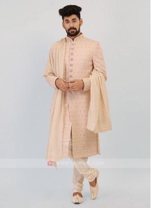 Pink And Off-White Sherwani