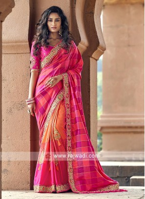 Pink and orange art silk saree with blouse