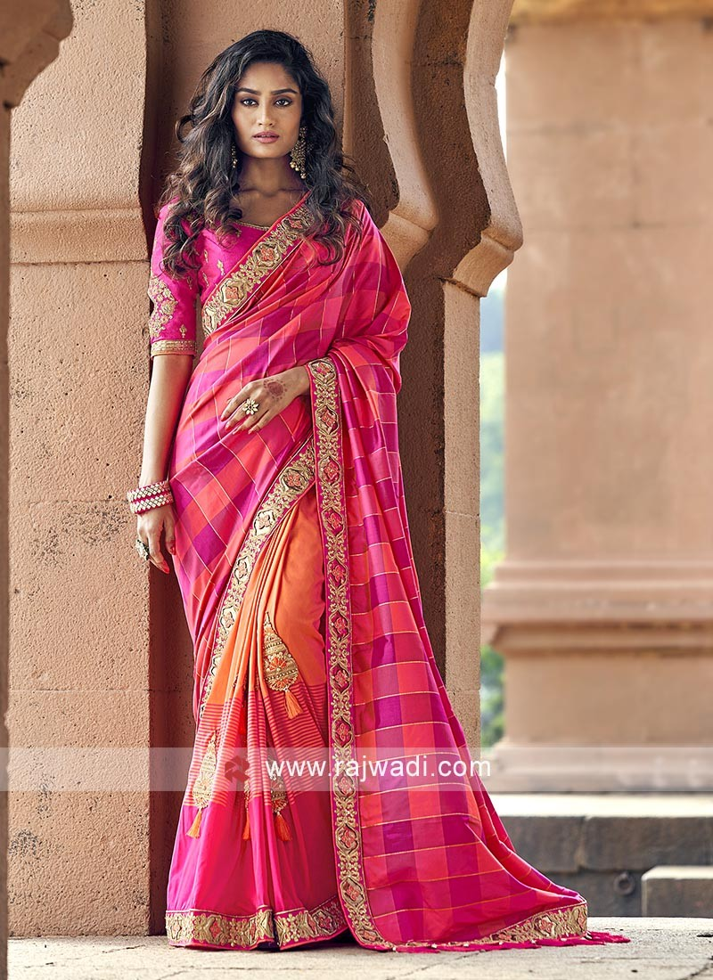 Pink and orange art silk saree with blouse