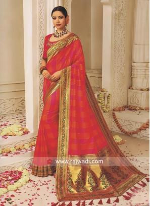 Pink and Orange Art Silk Wedding Saree