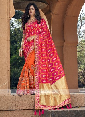Pink and orange banarasi silk saree with blouse
