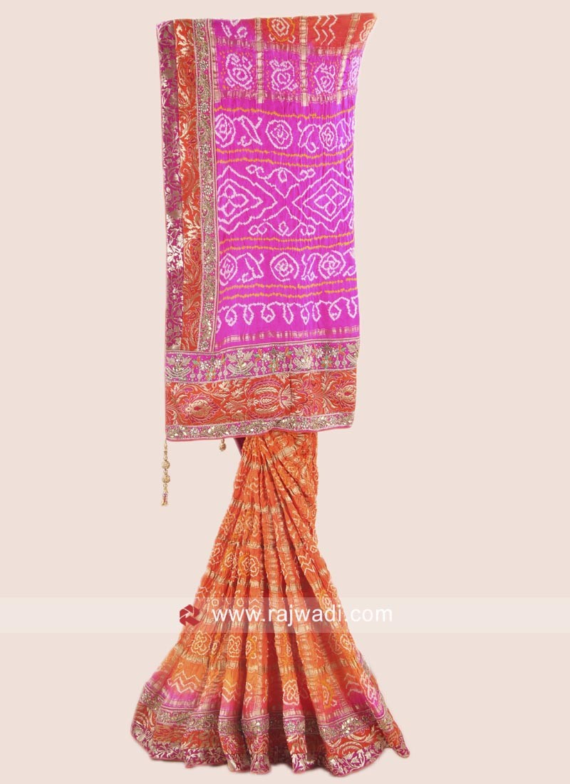 Pink and Orange Bandhani Saree