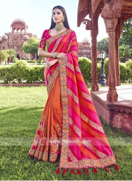 Pink and Orange Half n Half Saree