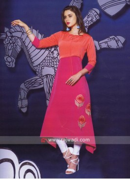 Pink and Orange Layered Kurti