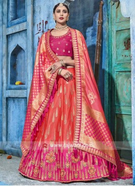 Pink and Orange Shaded Lehenga