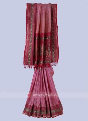 Pink And Peach Banarasi Silk Saree