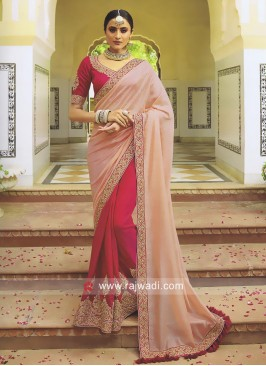Pink and Peach Half n Half Saree