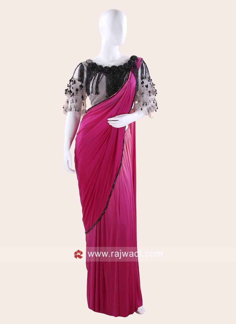 Pink and Peach Shaded Pre Stitched Saree