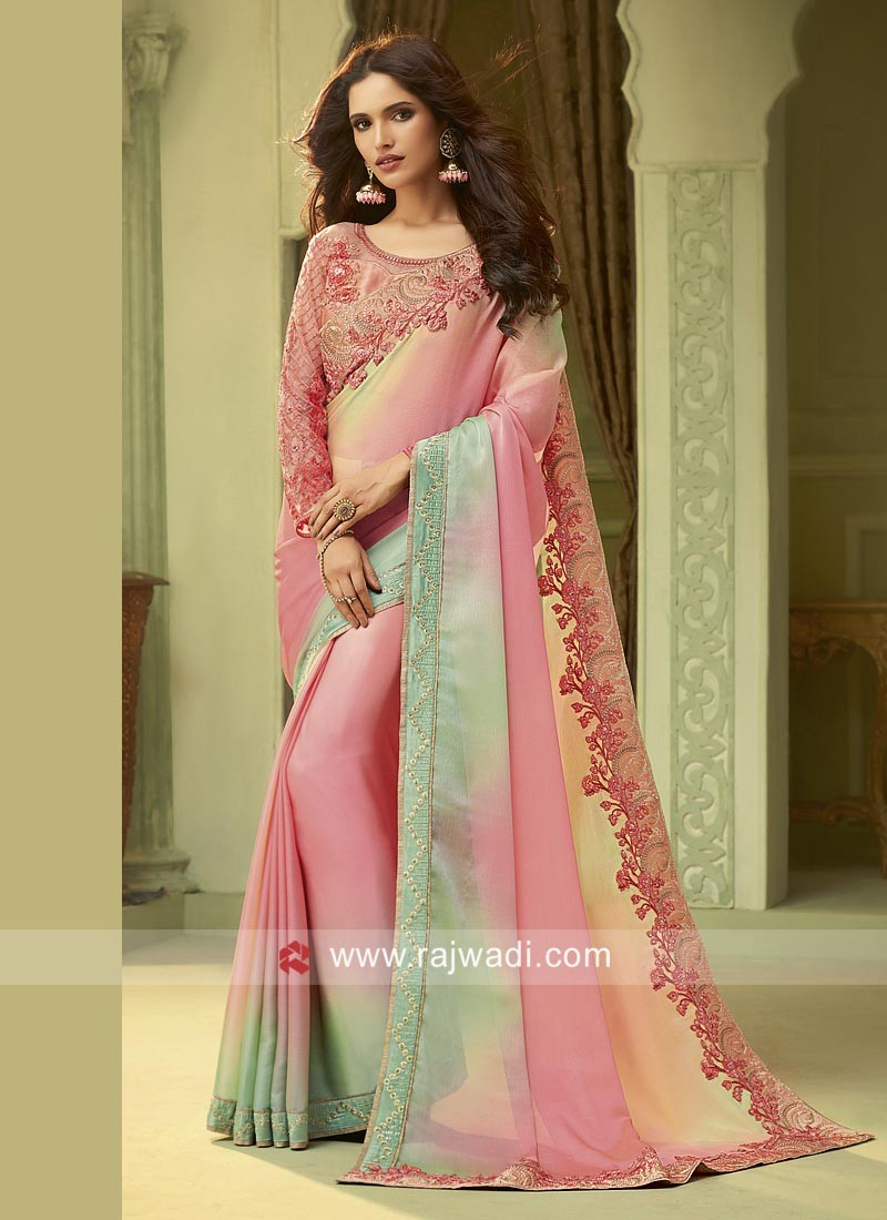 Pink and Pista Green Shaded Party Wear Saree