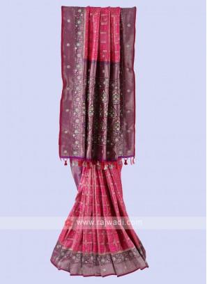 Pink And Purple Banarasi Silk Saree