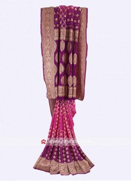 Pink and purple color chiffon saree