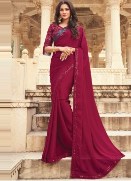 Pink and Purple Embroidered Ceremonial Shaded Saree
