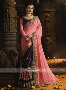 Pink and Purple Heavy Embroidered Saree