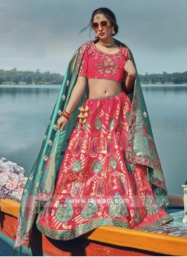 Pink and rama green lehenga choli